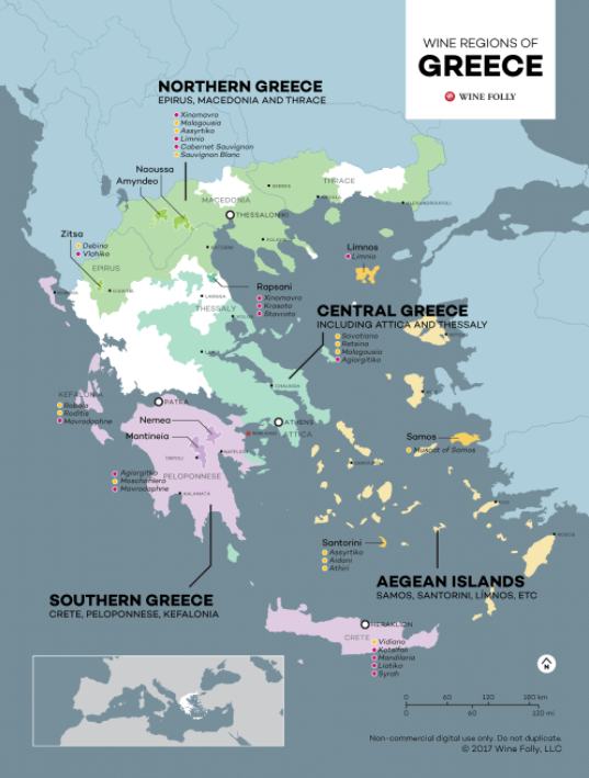 Carte vinicole de Grèce. source: winefolly.com