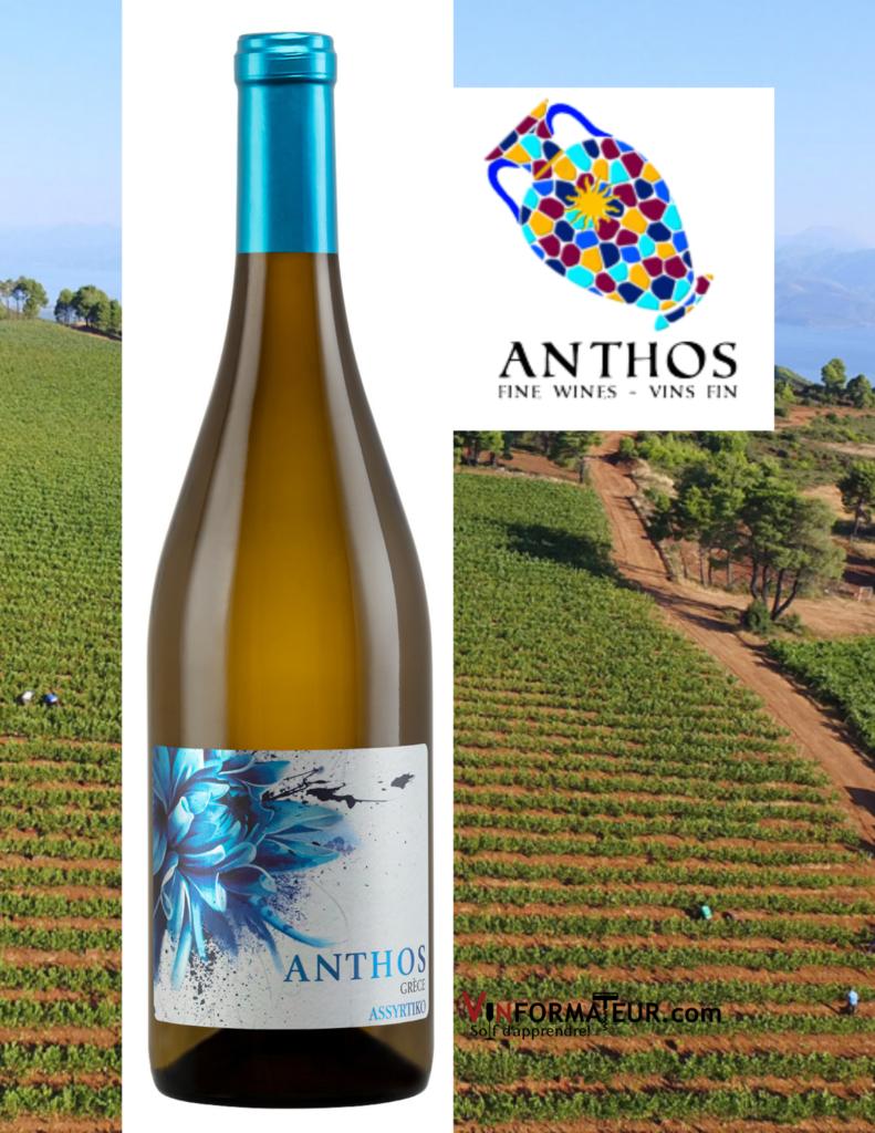Bouteille de vin Anthos, Assyrtiko, Grèce, Vin Blanc Sec, 2017