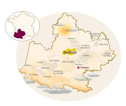 Carte viticole de l'AOC Brulhois et des vins du Sud-Ouest