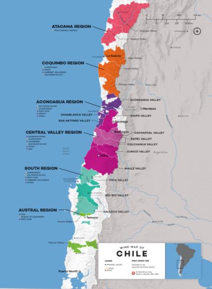 Carte viticole du Chili