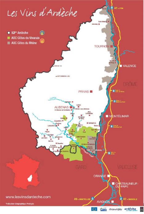 Carte viticole des vins d'Ardèche
