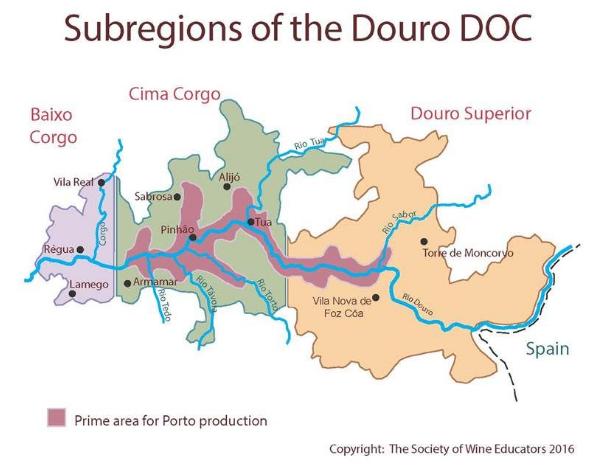 Carte viticole du Douro