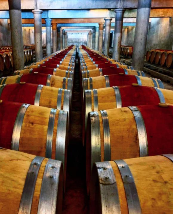 Chai Château Loudenne avec barriques empilées sur le sol