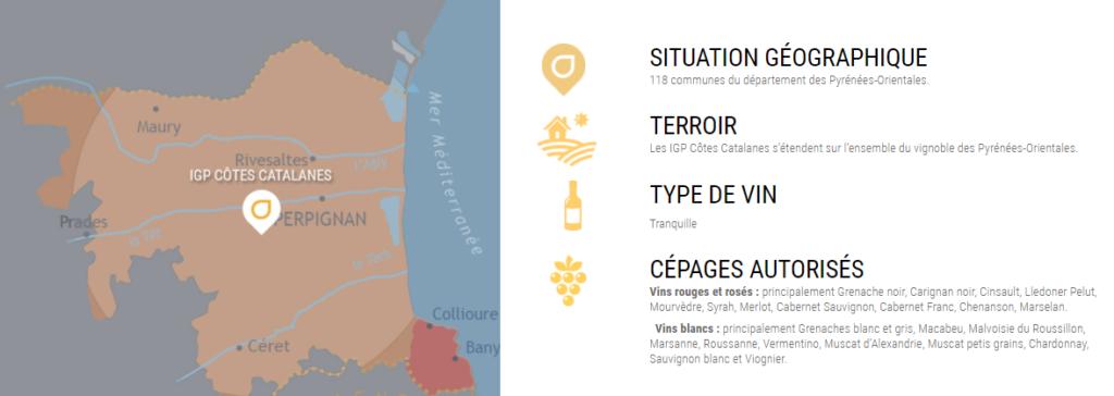 Carte viticole de l'IGP Côtes Catalanes