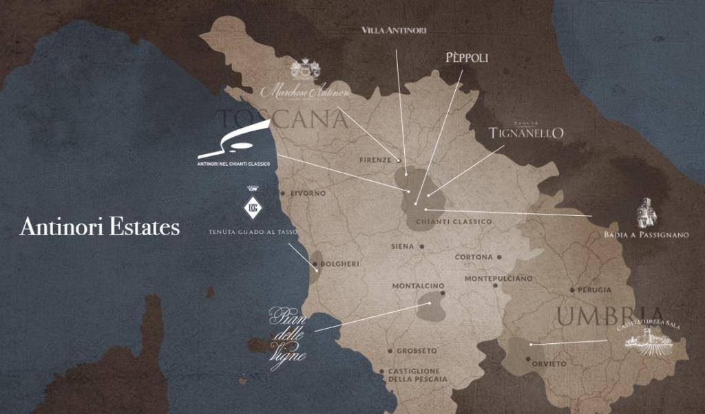 Carte viticole de la maison Marchesi Antinori en Italie