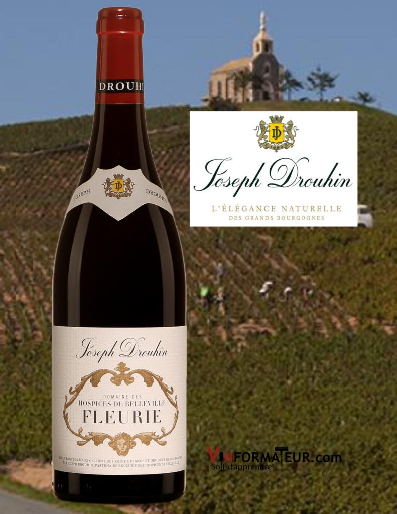 Bouteille de vin Fleurie, Joseph Drouhin, France, Beaujolais, Cru Fleurie, Hospices de Belleville, 2016 avec vignoble des Hospices de Belleville en arrière-plan