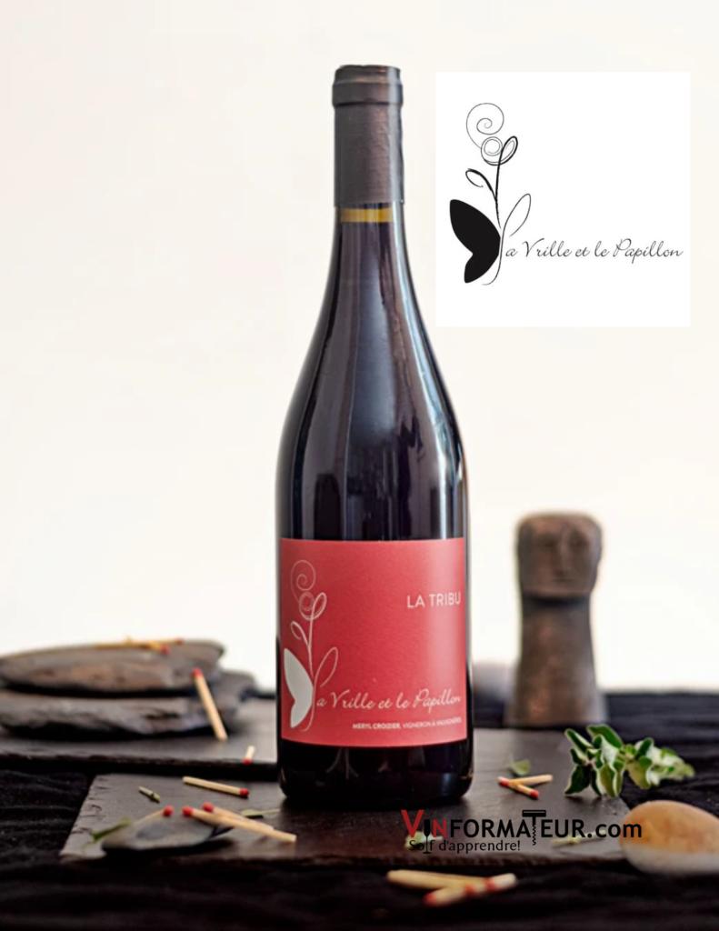 Bouteille de vin La Tribu, La Vrille et le Papillon, France, Ardèche, vin rouge bio et nature, non filtré, sans sulfites ajoutés