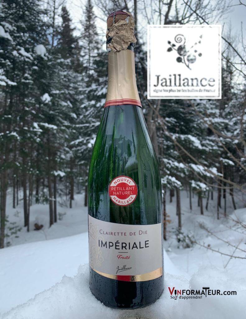 Bouteille de Jaillance, Cuvée Impériale, Clairette de Die, Vallée du Rhône, nouvel habillage