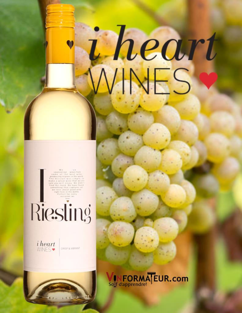 Bouteille de I heart Riesling, Allemagne, vin blanc avec cépage Riesling en arrière-plan