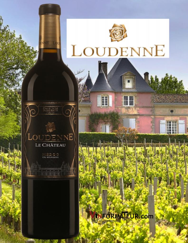 Bouteille du Loudenne Le Château, France, Médoc, Cru Bourgeois, 2015 avec le château Loudenne Rose en arrière-plan