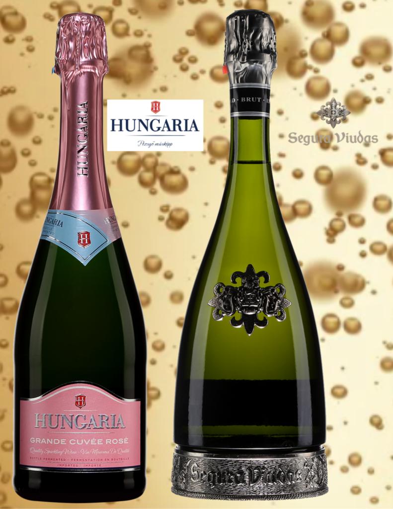 Deux bouteilles de vins effervescents le Hungaria rosé et le Segura Viudas Heredad