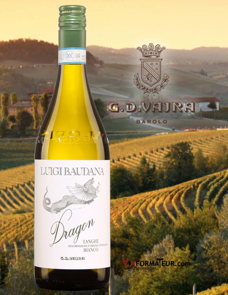 Bouteille G.D. Vajra, Dragon, Luigi Baudana, Italie, Piémont, Langhe DOC, vin blanc organique, 2019 avec le vignoble en arrière-plan
