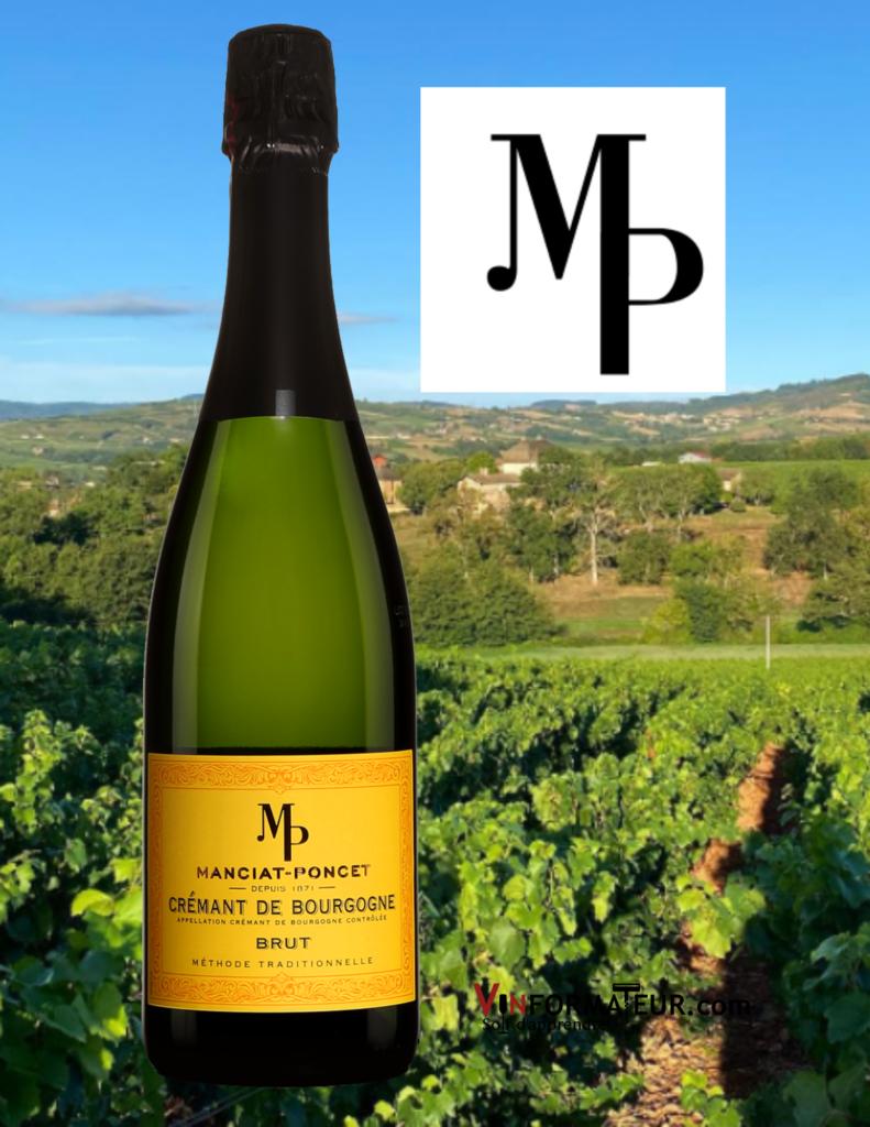 Bouteille du Domaine Manciat-Poncet, Crémant de Bourgogne, Brut avec vignoble en arrière-plan