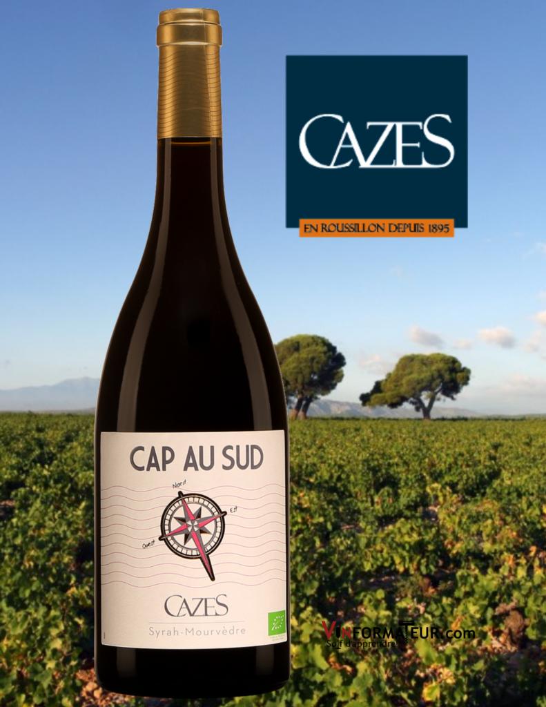 Cap au Sud, Domaine Cazes, France, Languedoc-Roussillon, Pays d'Oc IGP, vin rouge biodynamie, 13,35$, 2019 avec vignoble en arrière-plan
