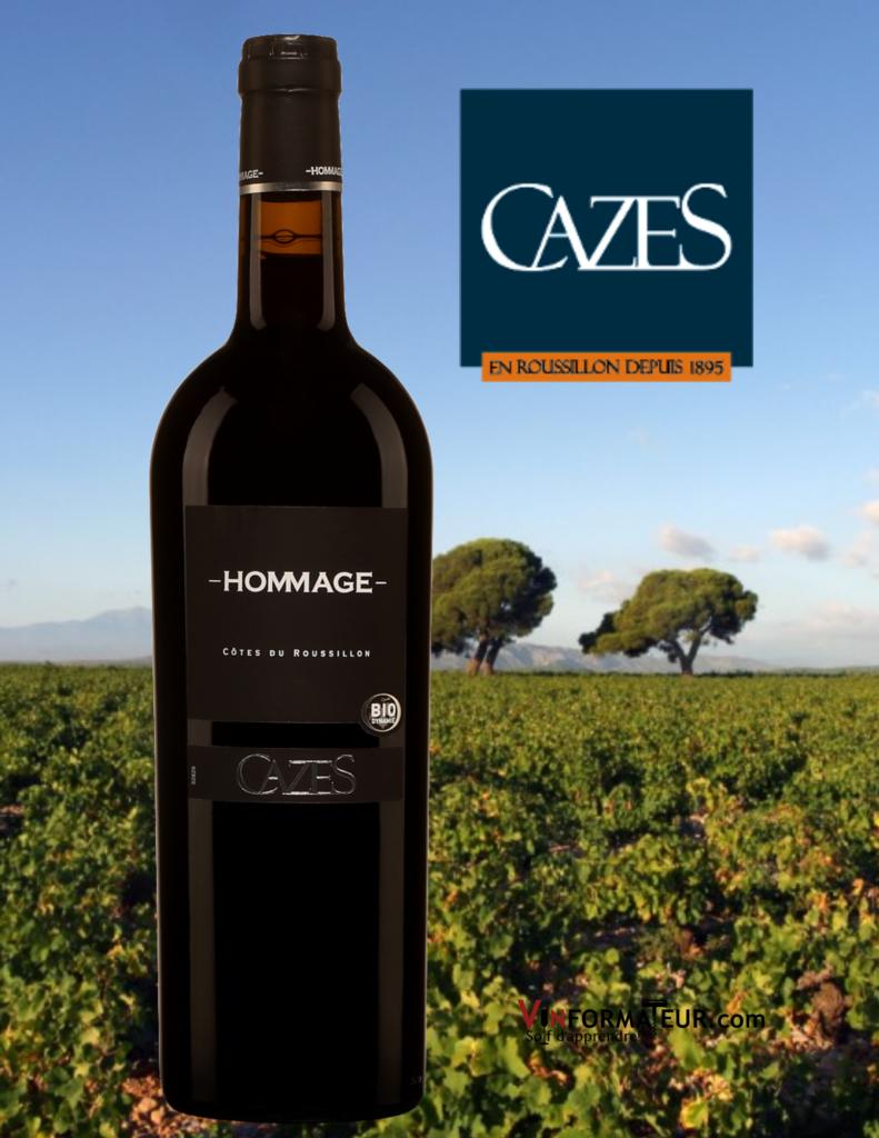 Vin Hommage, Domaine Cazes, France, Côtes du Roussillon, vin rouge biodynamie, 2019 avec vignoble en arrière-plan