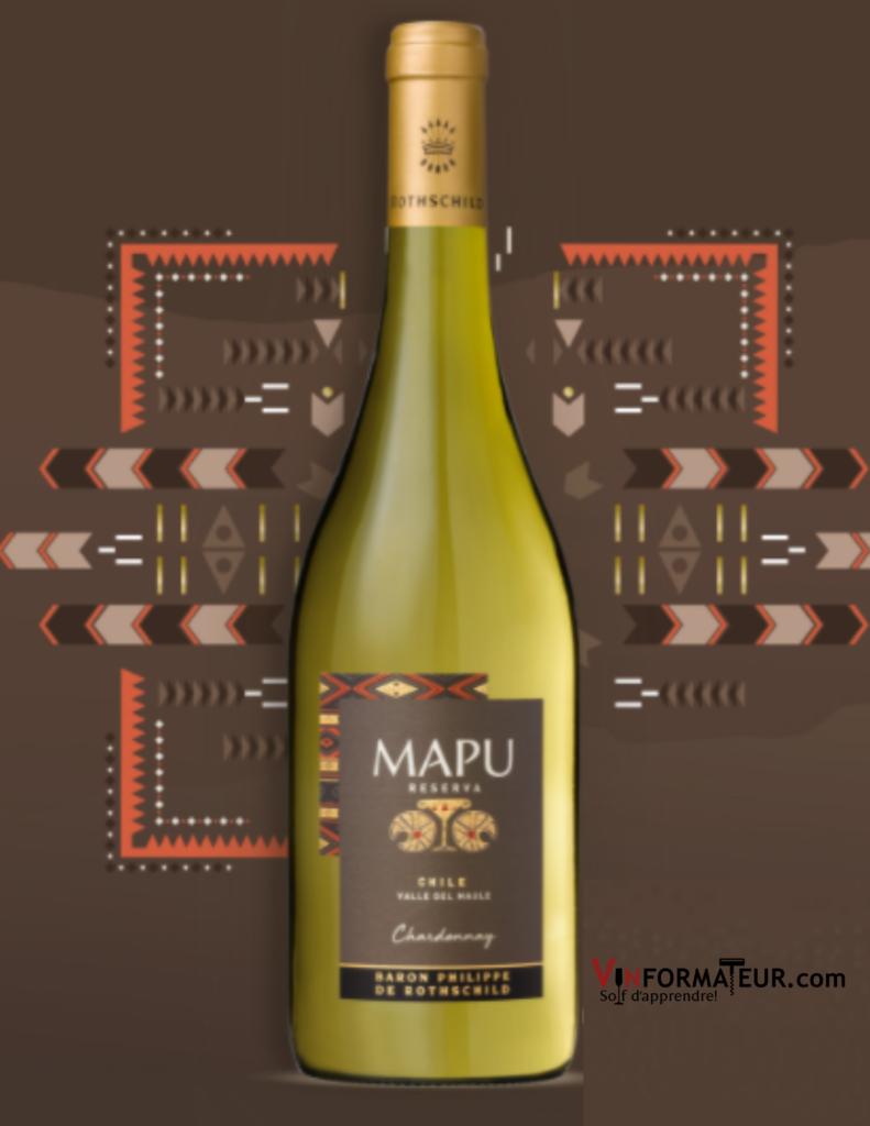 Mapu, Chardonnay, Reserva, vin blanc, Chili, Valle del Maule, Baron Philippe de Rothschild, 2019