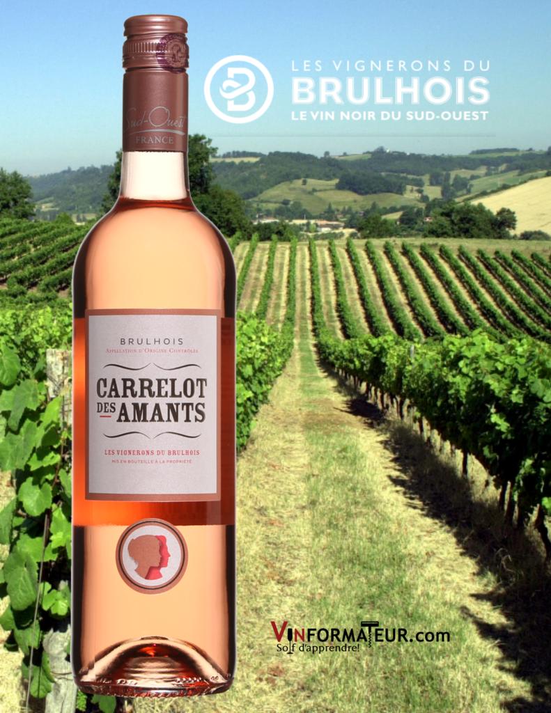 Bouteilles de Carrelot des Amants rosé avec vignoble en arrière-plan