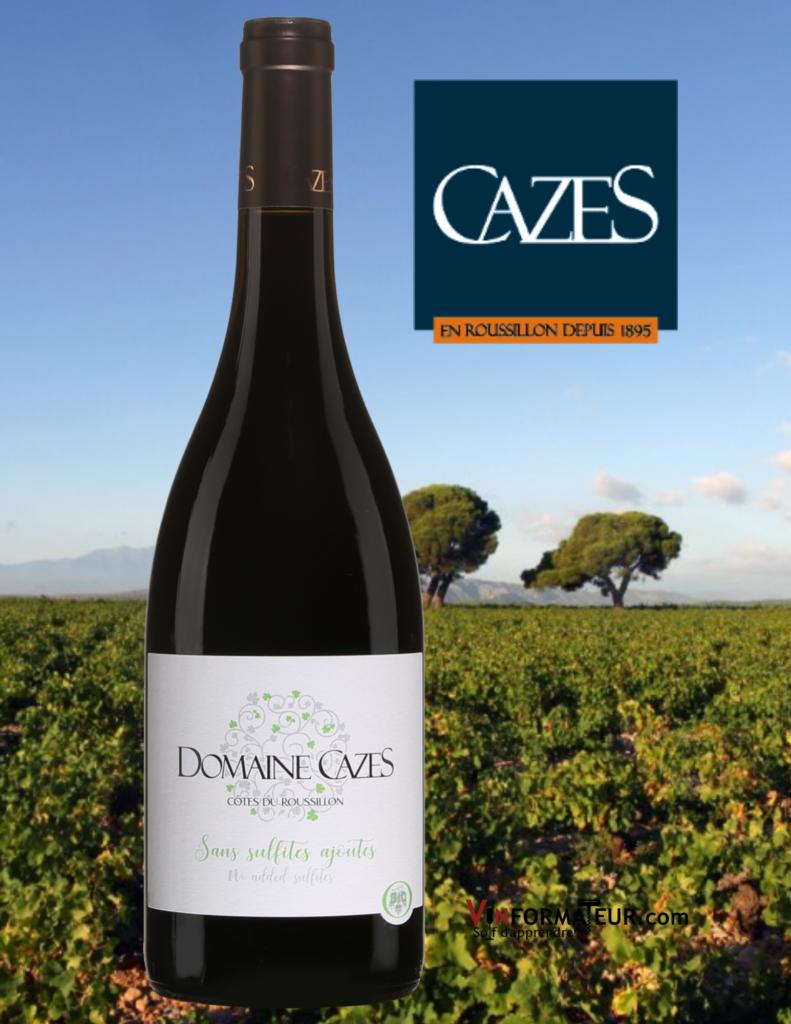 Domaine Cazes, Côtes du Roussillon, Vin rouge biodynamie sans sulfites ajoutés, 2019 avec vignoble en arrière-plan
