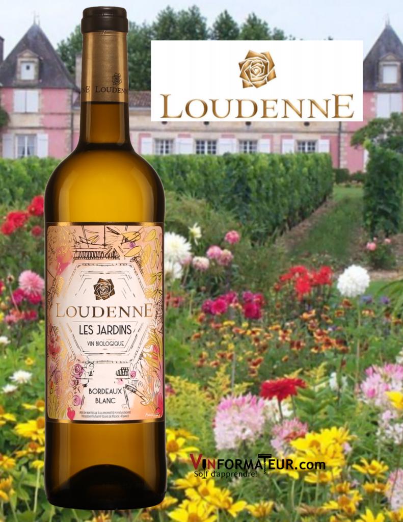 Bouteille du Loudenne, Les Jardins - vin blanc bio avec château Loudenne en arrière-plan
