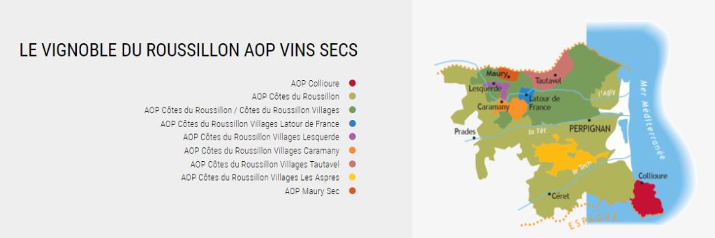 Carte viticole de l'AOC Roussillon