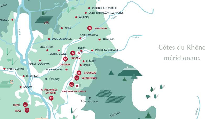 Carte viticole Côtes-du-Rhône
