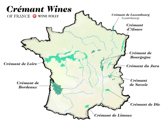 Carte viticole Crémants de France (source: winefolly.com)