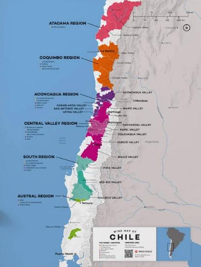 Carte viticole du Chili - www.winefolly.com