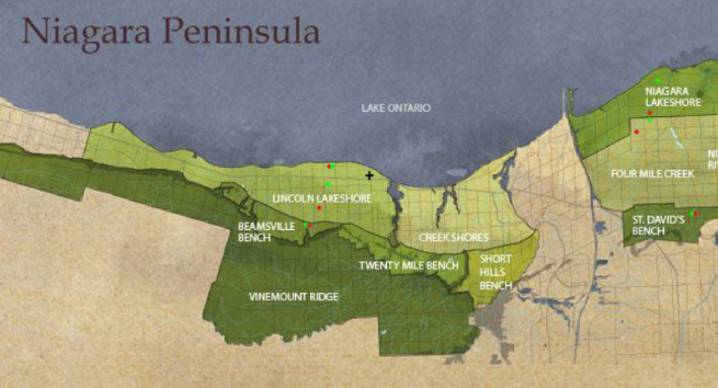 Carte viticole Niagara Peninsula