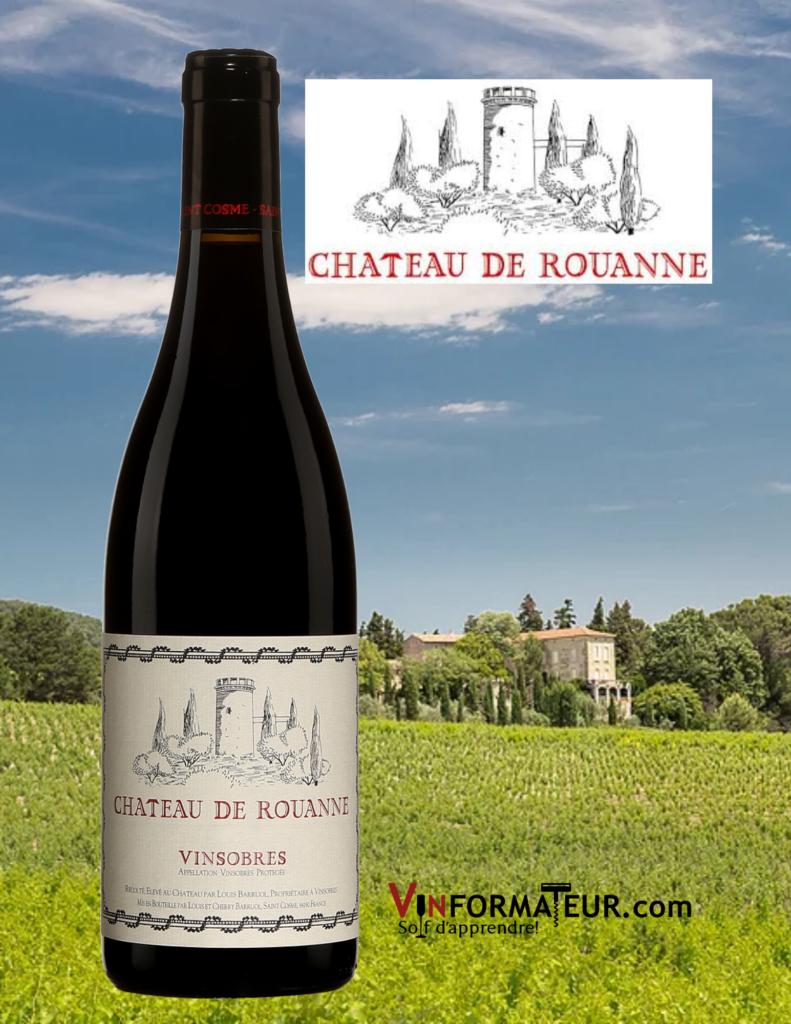 Bouteille de Château de Rouanne, France, Vallée du Rhône, Vinsobres, Château de Saint Cosme, Louis Barruol, vin rouge bio, 2018 vignobles en arrière-plan