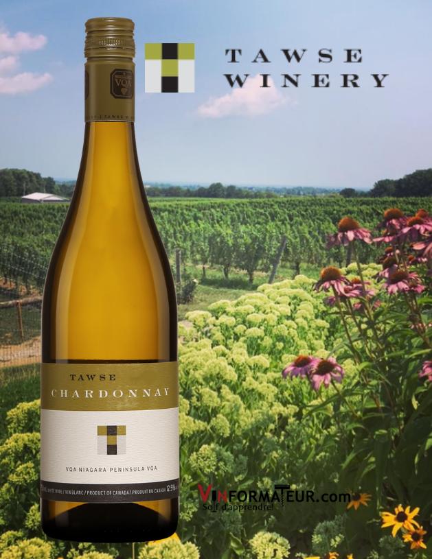 Bouteille de Tawse Chardonnay, Ontario, Niagara Peninsula, vin blanc, 2018 avec vignobles et chai en arrière-plan