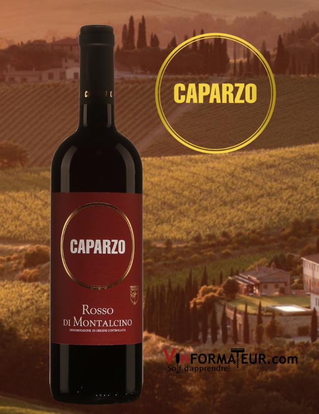 Bouteille de Rosso di Montalcino, Caparzo, Borgo Scopeto E Caparzo, 2019 avec vignoble en arrière-plan