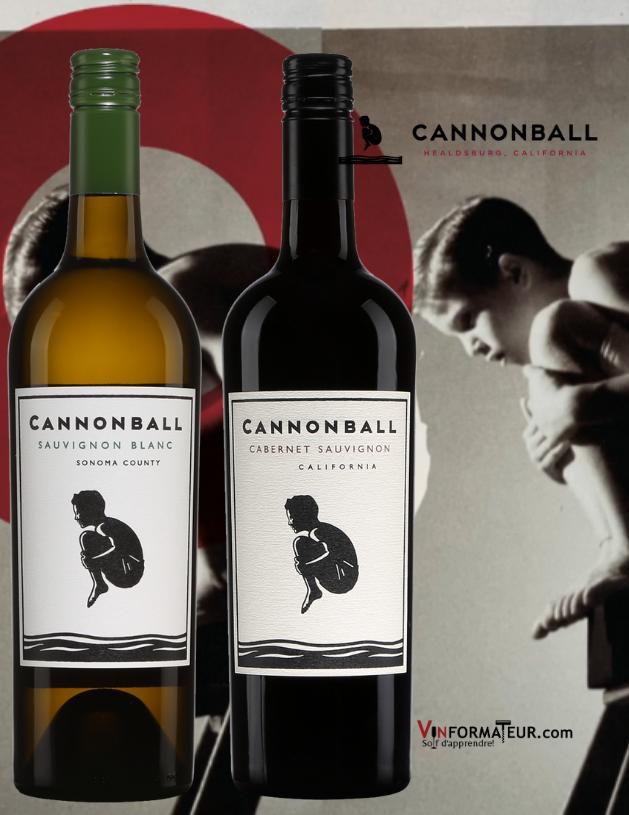 Bouteilles de Sauvignon blanc et Cabernet-Sauvignon Cannonball