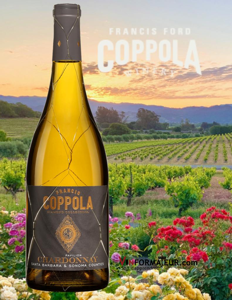 Bouteille de Ford Coppola, Diamond Collection, Californie, Sonoma Coast, 2018 avec vignobles en arrière-plan