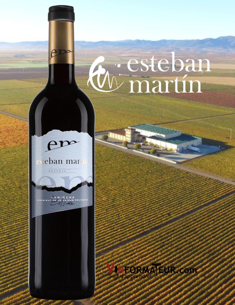 Bouteille de Esteban Martin, DOC Carinena, Espagne, Aragon, vin rouge, 2016 avec vignoble en arrière-plan
