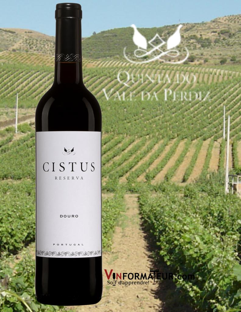 Bouteille de Cistus, Reserva, Portugal, Douro, Quinta do Vale da Perdiz, 2018 avec vignobles en qrrière-plan