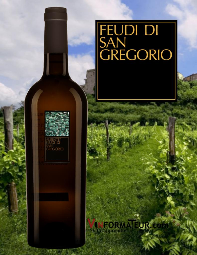 Bouteille Albente, Feudi di San Gregorio, Vino de Tavola, Campanie, Italie, 2019 avec vignobles en arrière-plan