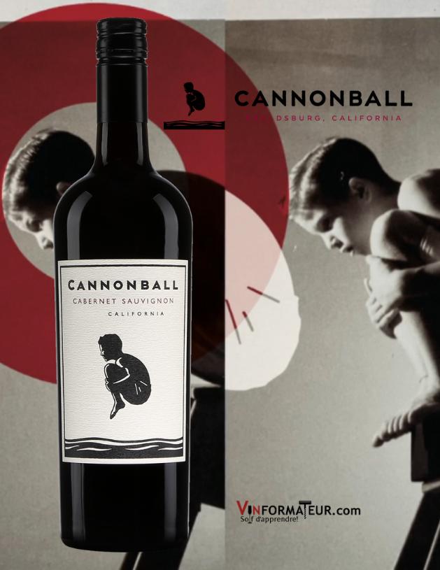 Bouteille de Cannonball, Cabernet-Sauvignon, Californie, Share a Splash Wine Co.,Vin de table, 2017 avec logo en arrière-plan