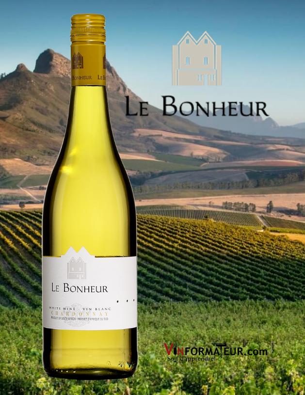 Bouteille de Le Bonheur, Chardonnay, Afrique du Sud, Simonsberg Stellenbosch, 2020 avec vignoble en arrière-plan