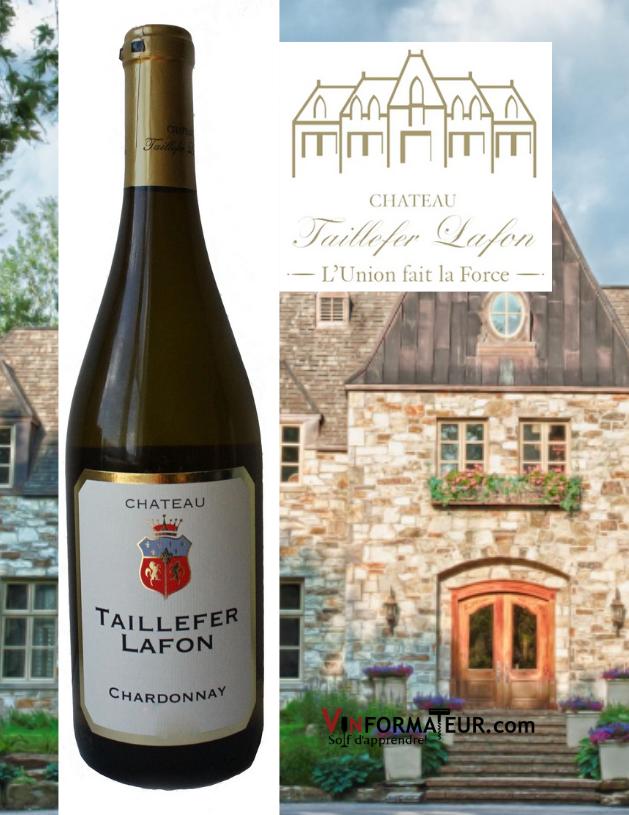 Bouteille Château Taillefer Lafon, Chardonnay, 2019 avec Château en arrière-plan