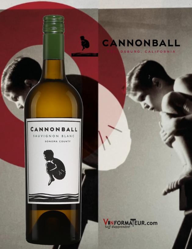 Bouteille Cannonball, Sauvignon blanc, Californie, Share a Splash Wine Co., Vin de table, 2018 avec logo en background