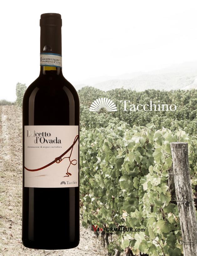 Bouteille de Dolcetto d'Ovada DOC, Italie, Piedmont, Dolcetto di Ovada, Tacchino, 2013 avec vignoble en arrière-plan