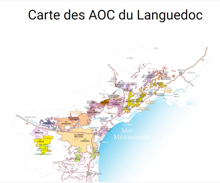 Carte viticole AOC Languedoc