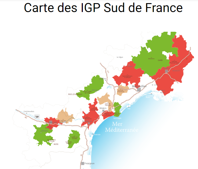 Carte viticole IGP Sud de France
