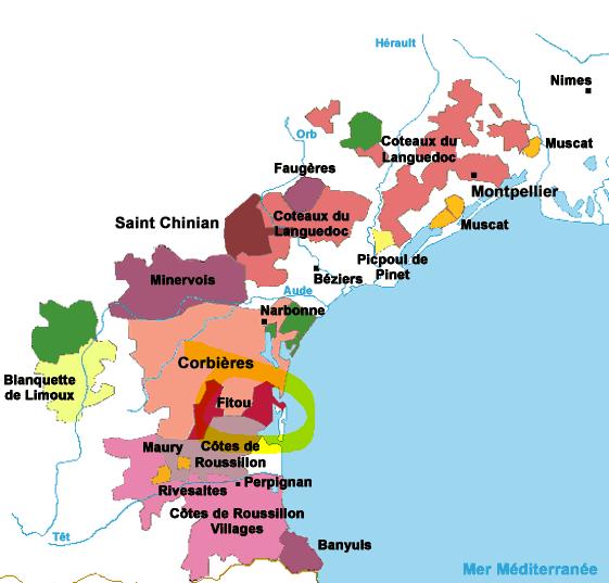 Carte viticole Languedoc-Roussillon