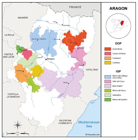 Carte viticole d'Aragon - Espagne