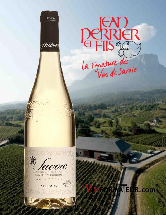 Bouteille Cuvée Gastronomie Apremont, France, Savoie, Jean Perrier & Fils, vin blanc, 2020 avec vignoble en arrière-plan