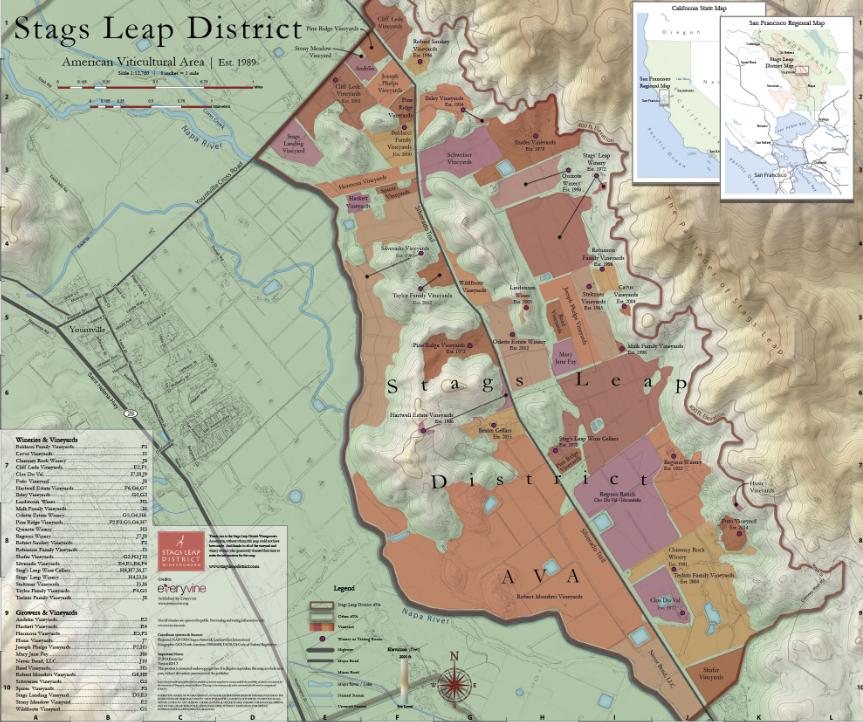 Carte viticole Stags Leap District