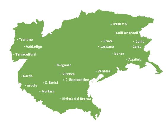 Carte viticole de Pinot Grigio delle Venezie