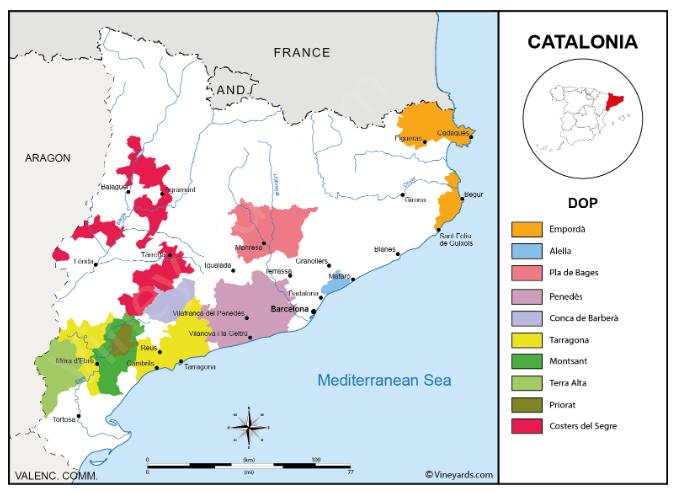 Carte viticole de la Catalogne, Espagne