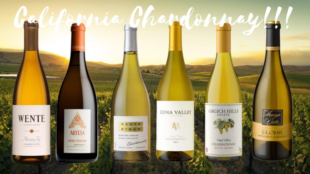 6 bouteilles de vin de Chardonnay de la Californie avec vignobles en arrière-plan